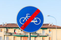 End bike path. Sign blue royalty free stock photography