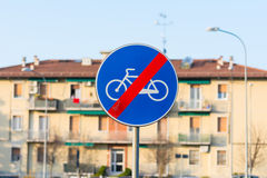 End bike path. Sign blue royalty free stock images