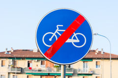 End bike path. Sign blue royalty free stock image