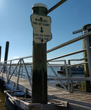 End of Boat Ramp Warning, Boat Docking, USA Royalty Free Stock Photos