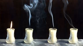 End of the candle flame Stock Image