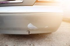 The end of the car has a break from being hit. End car has break being hit royalty free stock photo