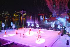 End of Christmas Show on ice on colorful background in International Drive area. Orlando, Florida. November 17, 2018. End of Christmas Show on ice on colorful royalty free stock photography