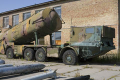 End of cold war. Abandoned soviet ballistic nuclear missiles launcher Stock Images
