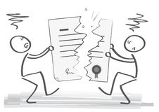 End of contract. Angry contractors tearing contract - illustration stock illustration