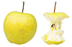 End core and whole golden delicious apple Stock Image