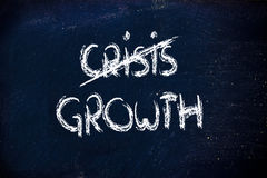 End of the crisis, time to grow. Crisis end writing on blackboard Stock Photo