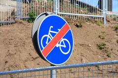 End of cycle lane sign Stock Photo