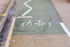 End of cycle lane Stock Image