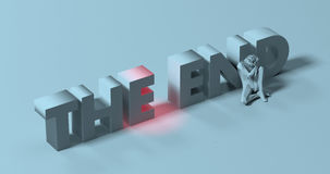 The End - 3d render lettering sign, near tired depressed man, il Stock Photography