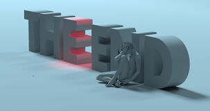 The End - 3d render text sign, near depressed lonely man, illust Stock Image