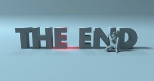 The End - 3d render text sign, near sad stressed man, illustrati Royalty Free Stock Images