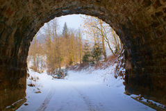End of dark arched empty tunnel with views of mountain landscape in winter stock images