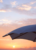 End of the Day. Parasol At Sunset Royalty Free Stock Photography