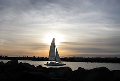 End Of The Day. Santa Cruz marina, Calif stock image