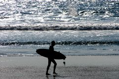 End of Day. A surfer walks down the beach Stock Photos