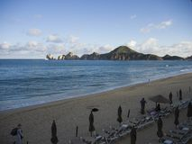End of day on beach at Cabo San Lucas royalty free stock image