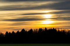 End of Day one. Sunset on the first of january 2015 royalty free stock photo