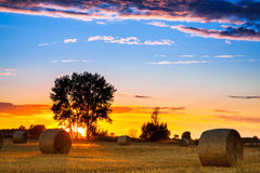 End of day over field with hay bale. In Hungary- this photo made by HDR technic Stock Image