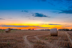 End of day over field with hay bale Stock Images
