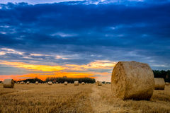 End of day over field with hay bale in Hungary- This photo make Stock Photos