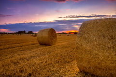 End of day over field with hay bale Royalty Free Stock Photography
