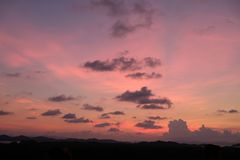 Colorful and lovely sunset in Thailand stock photography