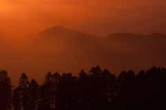 End of day. Sunset over the Oregon Coast Range as seen from the Willamette Valley Stock Photo