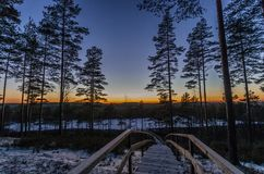 The end of a day on a trail to a lake Royalty Free Stock Photography