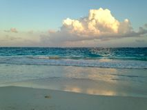 End of a day in Tulum. Beginning of a sunset in the beautiful and heavenly beaches of tulum royalty free stock photography