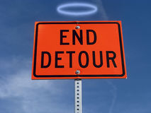 End detour traffic sign. Stock Photography