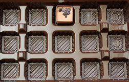 End of a diet. Close-up of almost empty tray of chocolates Stock Photography