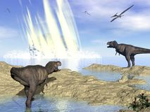 End of dinosaurs due to meteorite impact in. Tyrannosaurus rex and pteranodon looking at meteorite impact in Yucatan, Mexico, that created Chicxulub crater and Royalty Free Stock Photos
