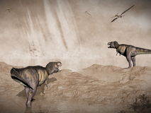 End of dinosaurs due to meteorite impact in. Tyrannosaurus rex and pteranodon looking at meteorite impact in Yucatan, Mexico, that created Chicxulub crater and Royalty Free Stock Image