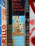 The end of the dream. Spanish text painted on Mexico side of border fence with USA illustrating frustration of desire at inability to cross border into USA Stock Image