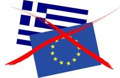 End Of EU. National flag of Greece and EU Royalty Free Stock Image