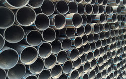 End face of HDPE pipes stack. Royalty Free Stock Images