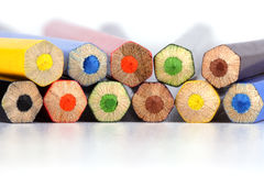 End faces of multi-coloured pencils Royalty Free Stock Image
