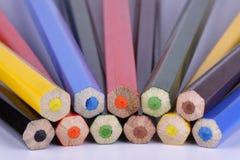 End faces of various colour pencils Stock Photos