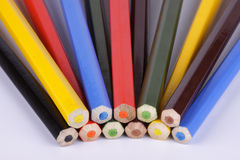 End faces of various colour pencils Royalty Free Stock Photo