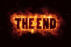 The end film fire burn flame text is explode. Explosion Royalty Free Stock Photography