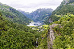 The end of Geiranger Fjord in Norway. stock images