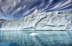 The end of a glacier in a greenland fjord Stock Photos