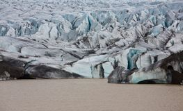 The end of glacier tongue in Iceland. Closeup view of svinafellsjokull glacier tongue end point, Iceland Stock Image