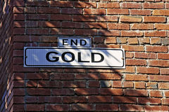 End of Gold. A street sign End Gold Stock Photos