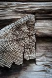 End grain of timber notched into wood wall beam Royalty Free Stock Photos