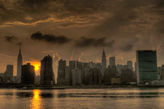 End Of A Gritty Day. 9 exposure HDR of midtown Manhattan, taken from Water Taxi Beach on the Brooklyn/Queens border Stock Image