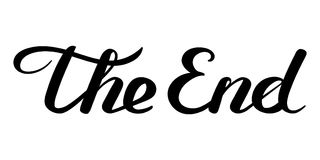 The End handwritten inscription. Black on white closing movie frame. Hand drawn phrase. Editable vector shape illustration Royalty Free Stock Photo