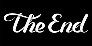 The End handwritten inscription. White paper letters effect. Closing movie frame. Hand drawn phrase. Editable vector shape illustration Royalty Free Stock Photography