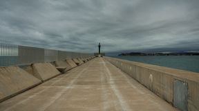 End of the harbour, sky and sea. stock photos